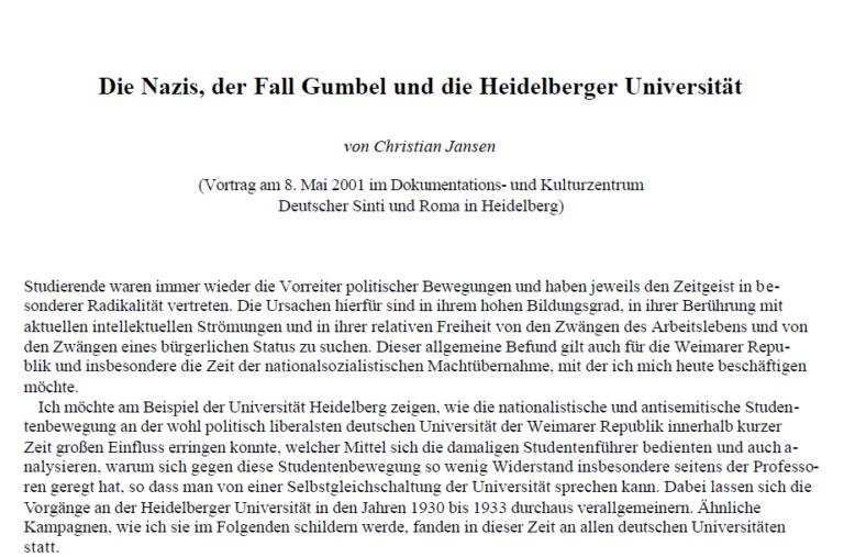 """""""Die Nazis, der Fall Gumbel und die Heidelberger Universität"""""""