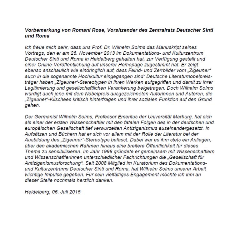 """""""Deutsche Literaturnobelpreisträger und ihre 'Zigeuner'"""""""