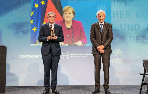 German Chancellor Angela Merkel awarded with the European Civil Rights Prize of the Sinti and Roma